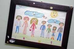 Happy family. Drawn child's vision of a happy family Royalty Free Stock Image