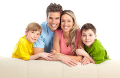 Happy family. Father, mother and children. Over white background Stock Photography