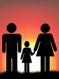 Happy family. Watch sunrise vector illustration Stock Photo