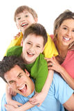 Happy family. Father, mother and children. Over white background Royalty Free Stock Photography