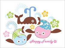 Happy family. Happy fish family greeting card Stock Photography