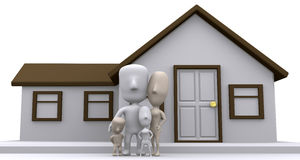 Happy family. A 3D illustration on the importance of a home to a family Royalty Free Stock Photos