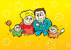 Happy family. Happy smiling  parents with daughter and son Stock Photos