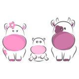 Happy Family. Moxy Patty the Cow family, vector Royalty Free Stock Photography