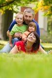 Happy family. Beautiful outdoor portrait of a happy family royalty free stock photos