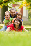 Happy family. Beautiful outdoor portrait of a happy family Royalty Free Stock Photography