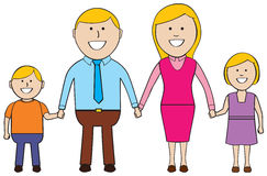 Happy Family. Cartoon family standing together holding hands and smiling Stock Photography