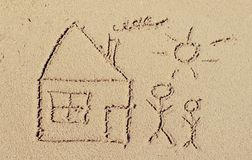 Happy family. Drawing in the sand on the beach Royalty Free Stock Photos