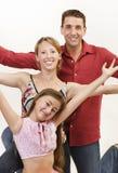Happy family 2. Happy family arms up Royalty Free Stock Photos