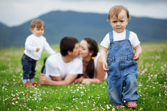 Happy family. Happy young family with twins resting outdoors Royalty Free Stock Photos