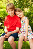 Happy Family. Little boy with his sister at summer park Stock Images