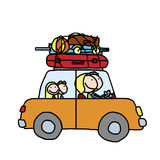 Happy family. Of four traveling in a car on summer vacation stock illustration