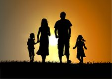 Happy family. And sunset,man and woman,sunset and children vector illustration