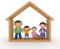 Happy Family. Family fun time. Happy family. Buy a house. New wooden house. Happy pet dogs. Cartoon-style illustrations Stock Photos