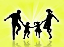 Happy family. Illustration about a family in the sunrays Royalty Free Stock Photography
