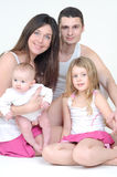 A happy family. On white Stock Images