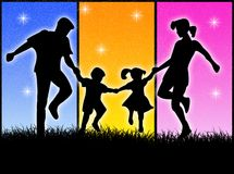 Happy family. A very happy family in the colourful background stock illustration