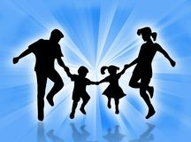 Happy family. Illustration about a happy family against a blue backdrop Stock Images