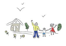 Happy family. This sketch made by me in children's style Royalty Free Stock Photography