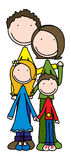 Happy family. Smiling family of four holding together royalty free illustration