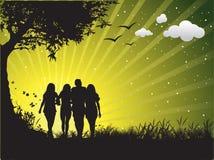 Happy family. Having fun outdoors royalty free illustration