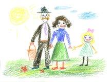 Happy family. And blue sunny sky Stock Photo