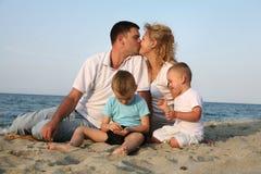 Happy family. Having fun at the beach stock photo
