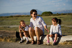 Happy family. Spending time outdoors royalty free stock image