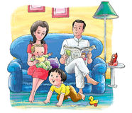 Happy family. A couple with two children relaxing in their home Royalty Free Stock Images