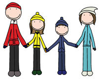 Happy family. Illustration of happy family of four in winter clothes holding hands royalty free illustration