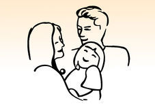 Happy family. Happy young family in a joyful Hug Royalty Free Stock Photography