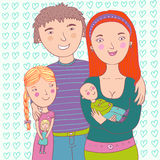 Happy family. Illustration - Mother father son and daughter Royalty Free Stock Photos