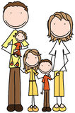 Happy family. Smiling family of five holding together royalty free illustration