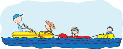 Happy family. Illustration of happy family of four having fun at sea vector illustration