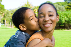 Happy family. Happy african american family mother and son outdoors Royalty Free Stock Photography