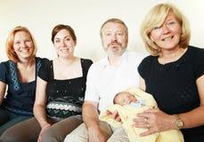 Happy Family. Three generation family reunion newborn celebration Stock Photography