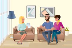 Happy Family Accepting Terms of Contract Vector. Young Happy Couple Accepting Terms of Contract with Realtor or Wedding Planner Cartoon Vector Illustration. Wife royalty free illustration