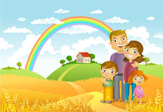 Happy family. Against a landscape and the house Stock Images