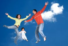 Happy family in the air Royalty Free Stock Photos