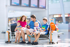 Happy family at the airport Royalty Free Stock Photography