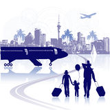 Happy family in airport, cityscape Royalty Free Stock Photography