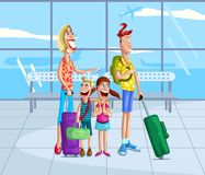 Happy family at airport Royalty Free Stock Photography