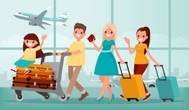 Happy family in airport terminal. Vector illustration Royalty Free Stock Image