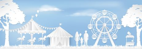 Happy Family in Amusement park with ferris wheel, carousel. Happy Family in Amusement park with ferris wheel and carousel paper art style, paper cut background Stock Photos
