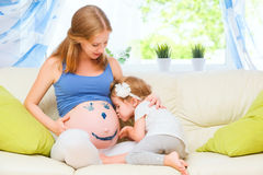 Happy family in anticipation of baby. Pregnant mother and child Stock Photography