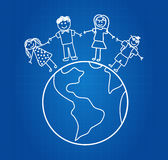 Happy Family Around The World Royalty Free Stock Photography