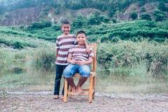 Happy family, Asian brothers Stock Photos