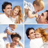 Happy family assembling royalty free stock photos