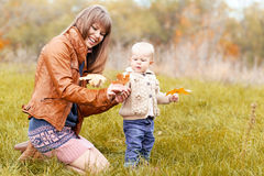 Happy family in autumn forest Stock Photography