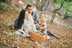 Happy family in an autumn forest stock photography